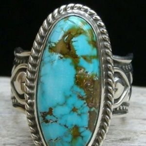 NEW Silver Turquoise Ring Size 6 Antique Look Boho